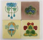 A group of four Art Nouveau majolica tiles With raised