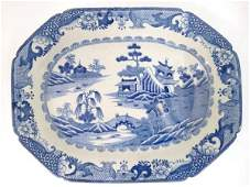 An early 19thC blue and white ironstone meat plate with