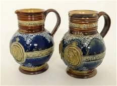 A Pair of Royal Doulton Lambeth stoneware commemorative