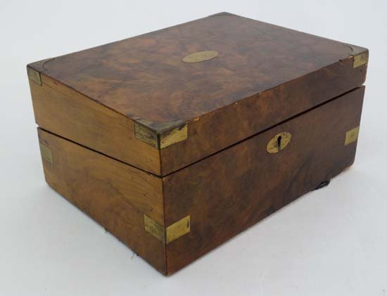 19thC Walnut Lap Desk : a burr walnut Writing Slope
