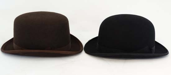 A Brown wool flat top bowler hat by Lock and Co . - 4
