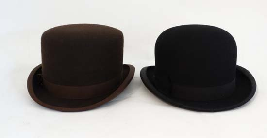 A Brown wool flat top bowler hat by Lock and Co . - 5