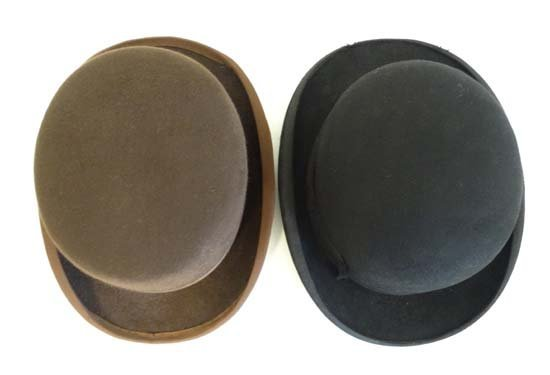 A Brown wool flat top bowler hat by Lock and Co . - 6