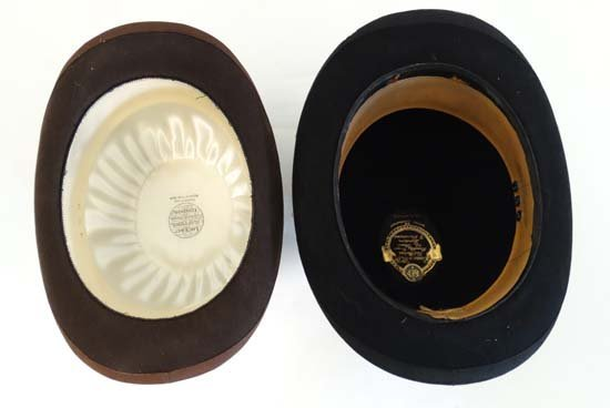 A Brown wool flat top bowler hat by Lock and Co . - 7