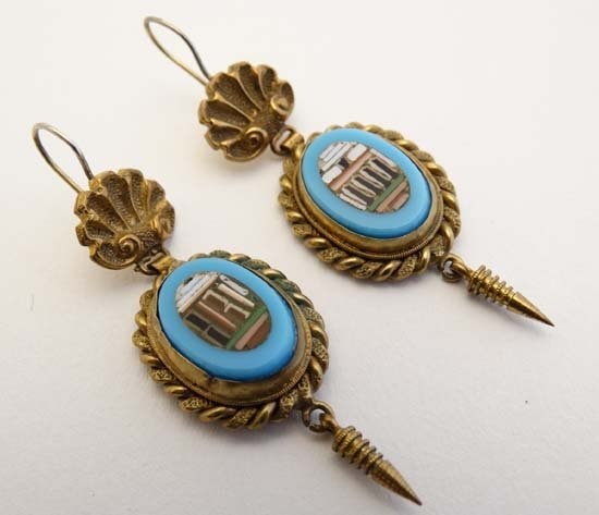 A pair of gilt metal drop earring set with Grand Tour