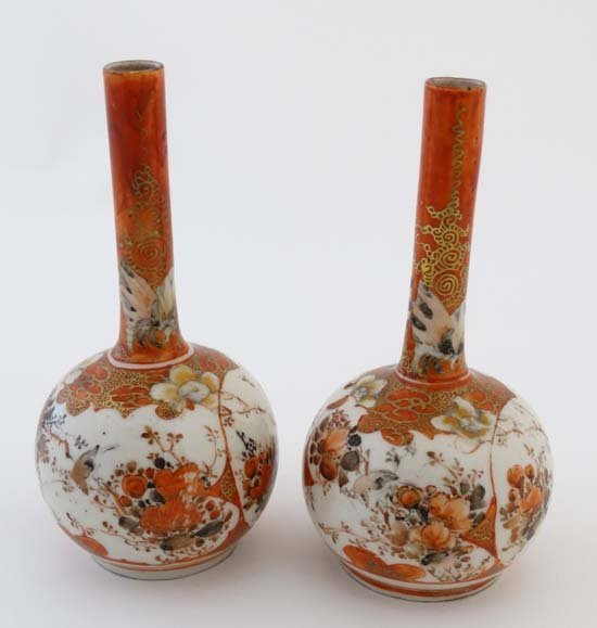 A pair of small Japanese Kutani bottle vases. Decorated - 3