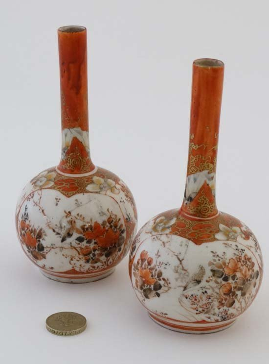A pair of small Japanese Kutani bottle vases. Decorated - 4