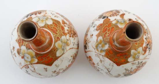 A pair of small Japanese Kutani bottle vases. Decorated - 5