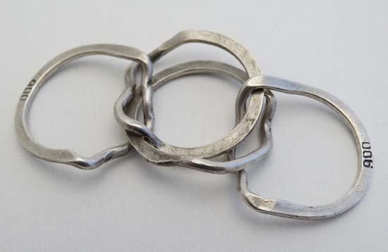 A .800 white metal puzzle ring / Turkish wedding ring - 2