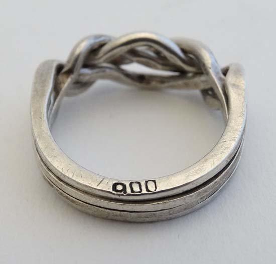 A .800 white metal puzzle ring / Turkish wedding ring - 3