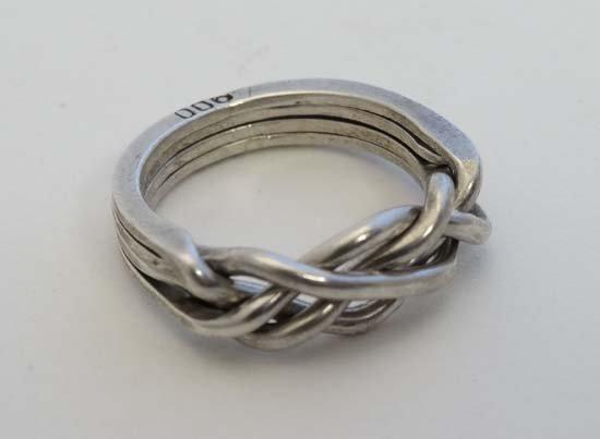 A .800 white metal puzzle ring / Turkish wedding ring - 4