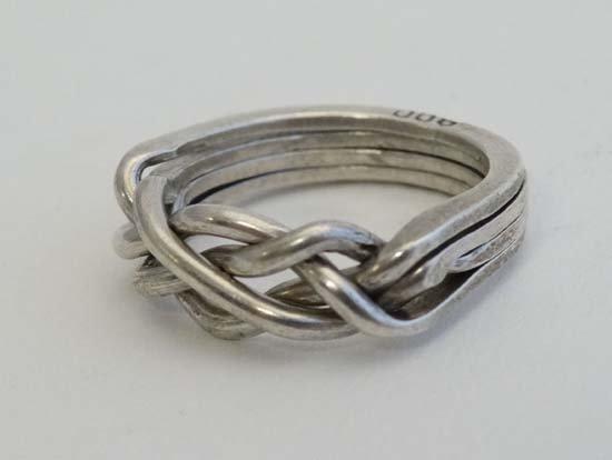 A .800 white metal puzzle ring / Turkish wedding ring - 5