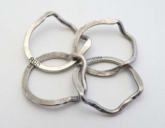 A .800 white metal puzzle ring / Turkish wedding ring - 6