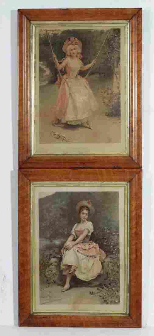 A pair of Chromolithographs After Madrazo ' Idle