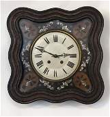 French 8 day Vineyard Clock  a wall mounted late 19 th