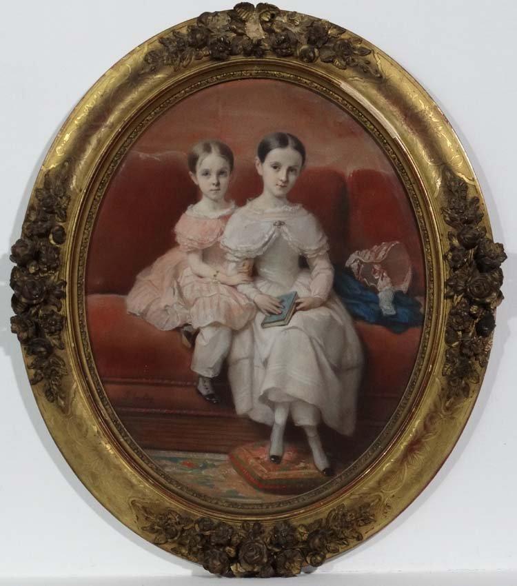 Paul Jourdy  (1805-1856)Pastel portrait , an oval '