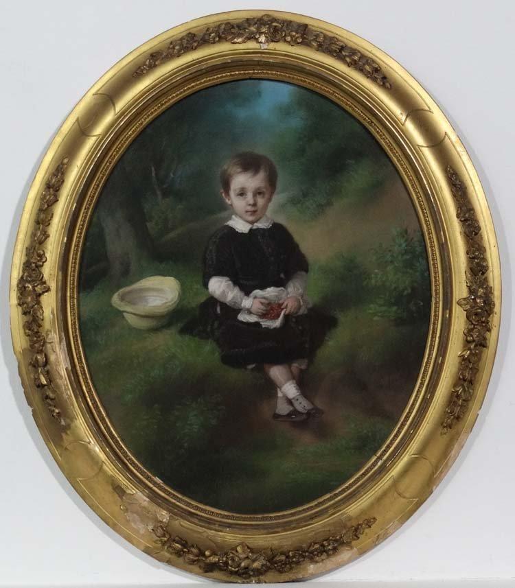 Paul Jourdy  (1805-1856)Pastel [portrait , an oval '