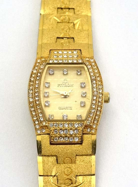 Fitron 22 carat gold plated ladies watch : a Tonneau