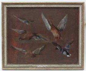 Edgar Hunt (1876-1953), Oil On Board, Study Of Duck