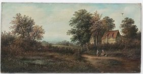 G.eyres Xix-xx. Oil On Canvas, A Country Scene With