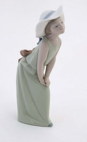 A Lladro Figure '' Curious Girl '' Modelled As A Girl