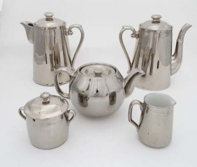 A Royal Worcester Silver Lustre Fireproof Tea Set To