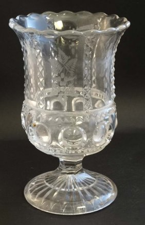 A Late Victorian Pedestal Clear Glass Celery Vase With