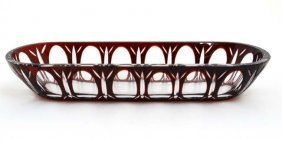 A Bohemian Ruby And Clear Glass Pen Tray With Flash Cut