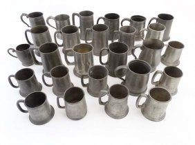 Pewter : A Large Quantity Of Pewter Tankards, Many