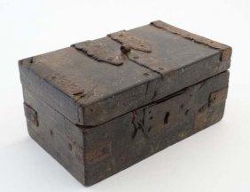 A 19thc Indian Hardwood Iron Bound Small Box 5 3/4''