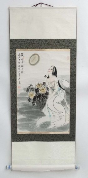 A Chinese Scroll Depicting A Naked Female In A Garden