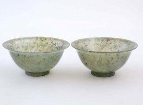 A Pair Of Spinach Green Chinese Jade Dishes/bowls