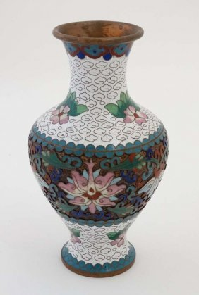 A Late 20thc Cloisonne Baluster Shaped Vase Standing 6