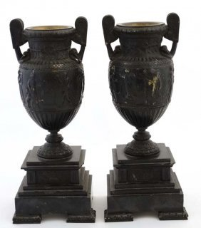 A Pair Of 19thc Bronze And Slate Classical Urns On
