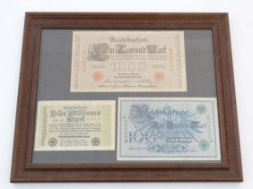 German Notes: A Framed Set Of Three German Banknotes To