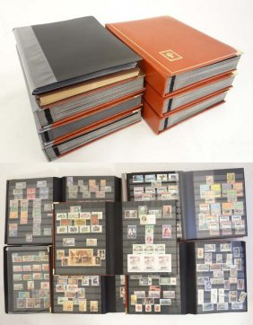 Stamps: Seven Large Stock Books Having A Range Of