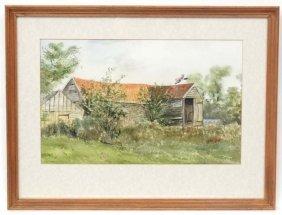Reg Sampson Xx Acylic Watercolour ' Derelict Barn '