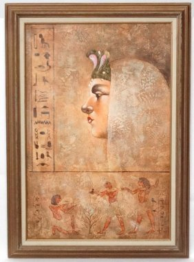 W Haers Xx Egyptian School Oil On Canvas Female Pharaoh