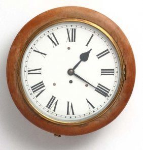 Clock : A 12'' Golden Oak Cased Wall Timepiece Clock