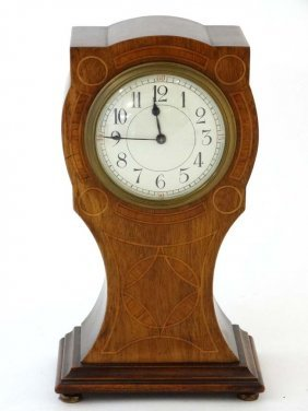 Edwardian Inlaid Mantle Clock ( Timepiece ) : An Inlaid