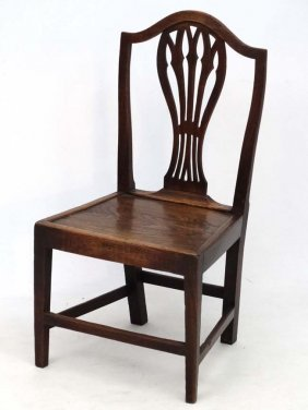 A C.1800 Elm Seated Chippendale Style Solid Seat Dining