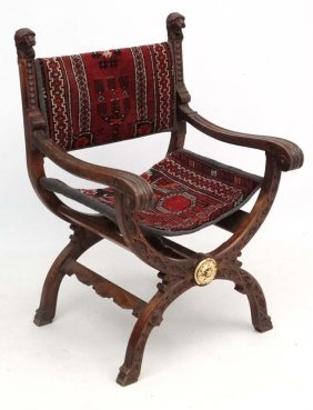 A 19thc Carved Oak X-framed Open Arm Chair With Persian