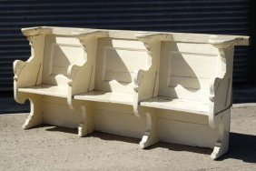 Ornate 19 Thc Pew : A White Painted 19thc Four Shaped