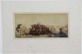 Militaria : A Polychrome Print Of Napoleonic - Era
