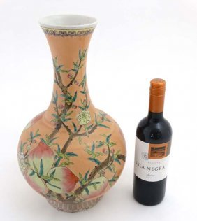 A Large Chinese Famille Rose Bottle Vase , Decorated