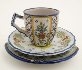 A Collection Of Three Items Of Quimper Pottery To