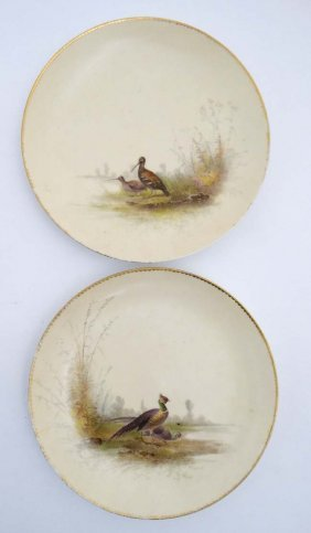 A Pair Of Royal Worcester Style Cabinet Plates Hand
