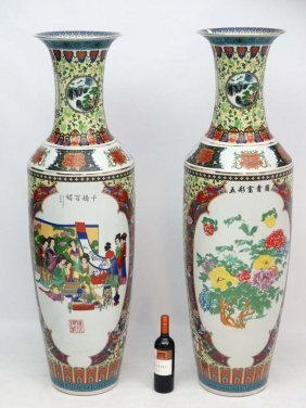 A Pair Of Exceptionally Large 20thc Oriental Style