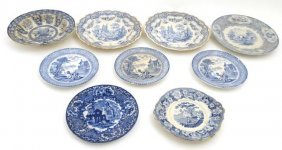 A Collection Of 9 Late 19th/early 20thc Blue And White