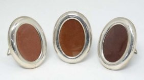 A Set Of Three Late 20thc Mexican Silver Oval